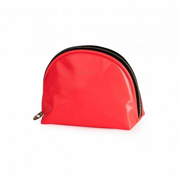 Make-up bag round small / neon coral / PU