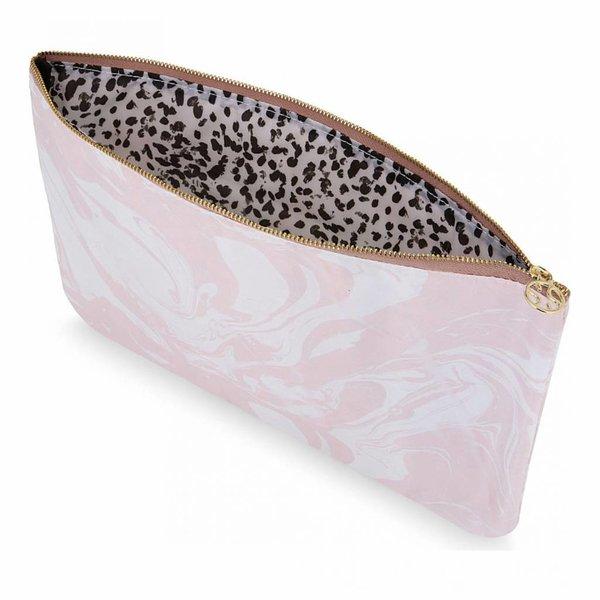 Make-up bag flat large  / pink marble allover / polyester