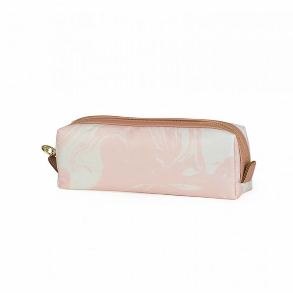 Make-up bag square small / pink marble allover