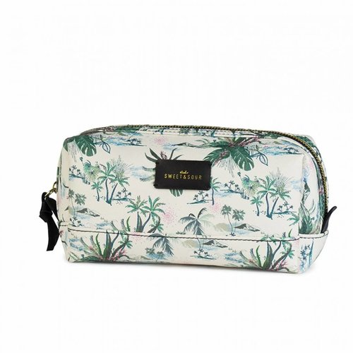 Studio Sweet & Sour  Make-up bag square medium / green leaves allover / PU