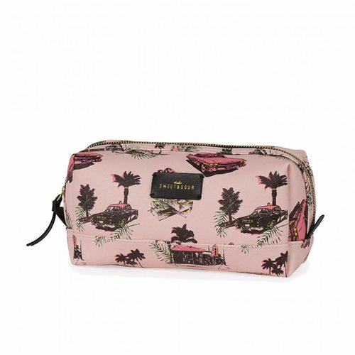 Studio Sweet & Sour  Make-up bag square medium  / pink cadillac allover / PU