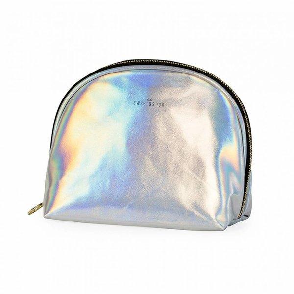 Make-up bag round medium / holographic silver / PU