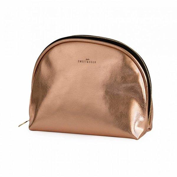 Make-up bag round medium / copper / PU