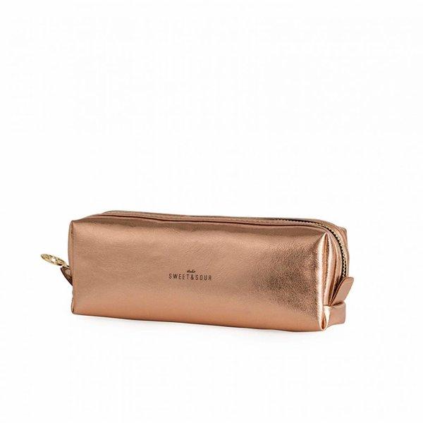 Make-up bag square small / copper / PU