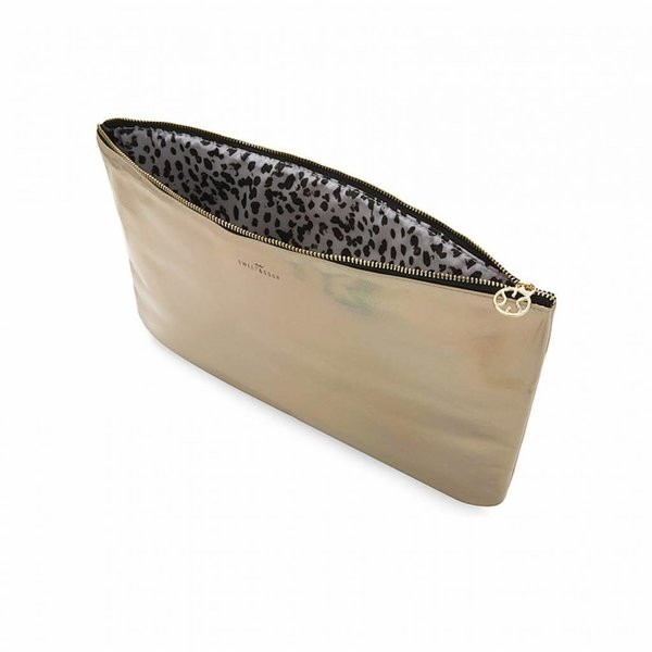 Make-up bag flat large  / gold grain / PU