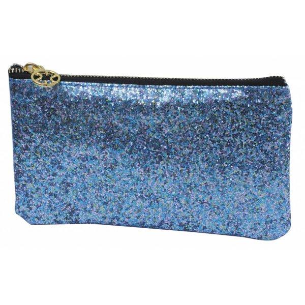 Make-up bag flat small / blue glitter / PU