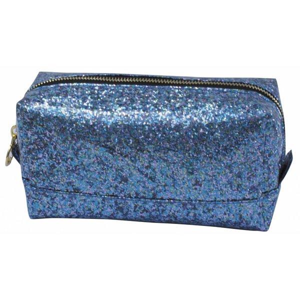 Make-up bag square medium / blue glitter / PU
