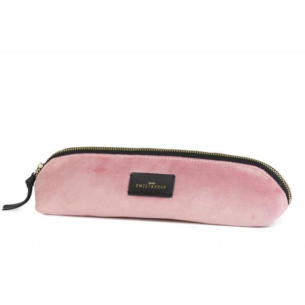 Slim pencil case / super soft velvet / pink