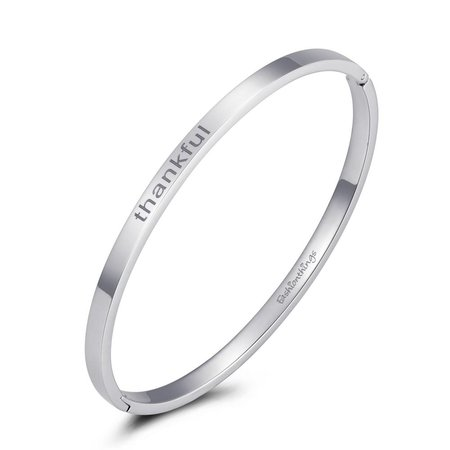 Fashionthings Bangle thankful zilver 4mm