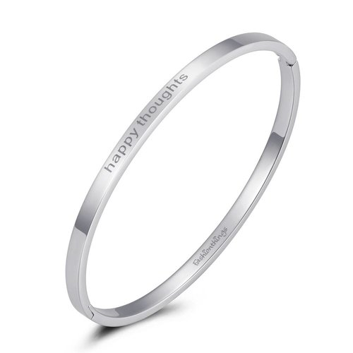 Fashionthings Bangle happy thoughts zilver 4mm