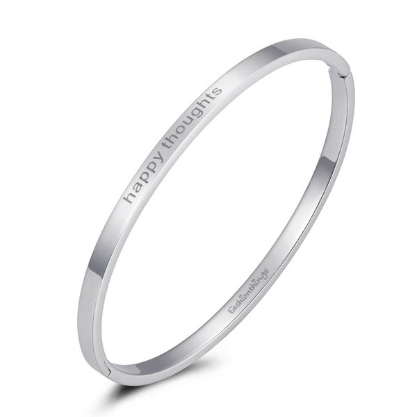 Bangle happy thoughts zilver 4mm