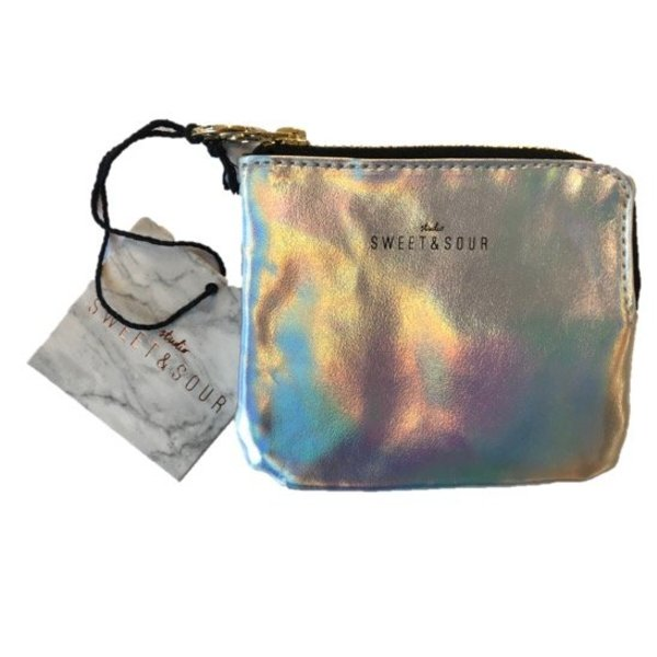 Keychain pouch / holographic silver / PU
