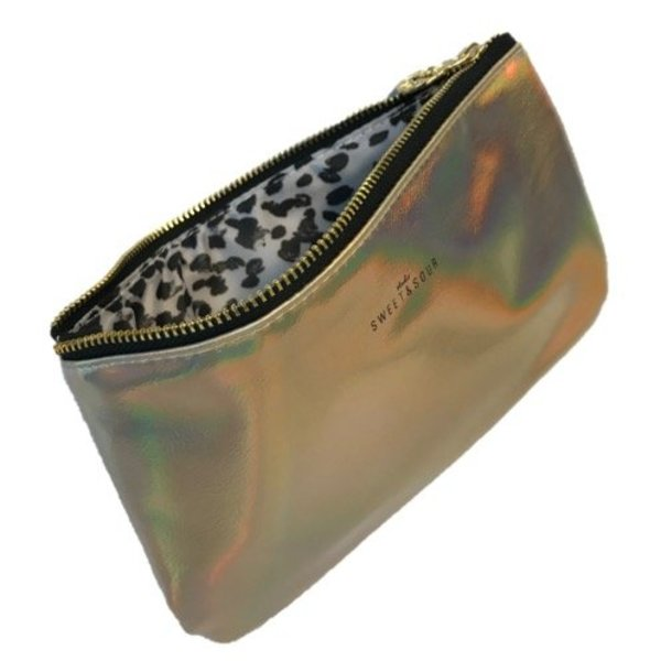 Make-up bag flat small / gold grain / PU
