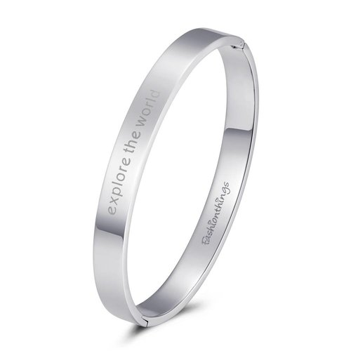 Fashionthings Bangle explore the world zilver 8mm