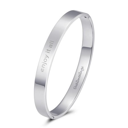 Fashionthings Bangle enjoy it all zilver 8mm