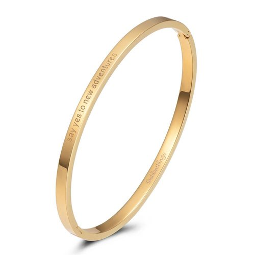 Fashionthings Bangle say yes to new adventures goud 4mm