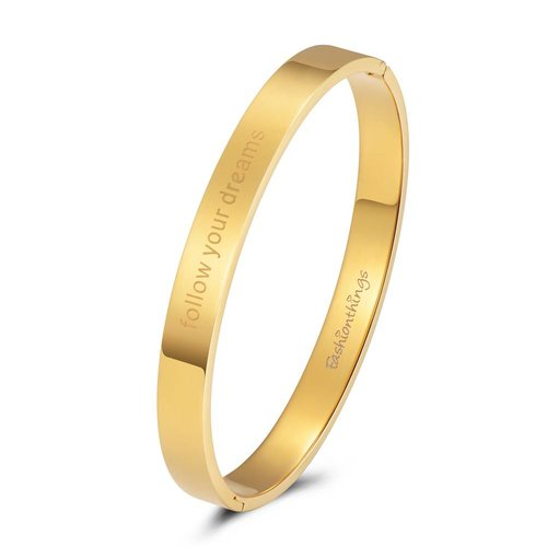 Fashionthings Bangle follow your dreams goud 8mm