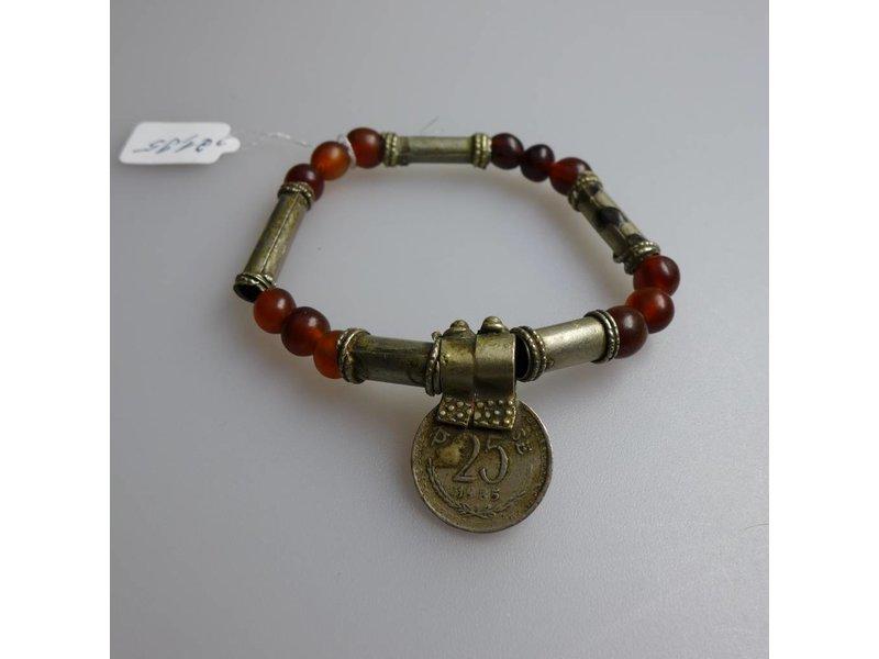 Tribal Schmuck Armband mit Büffelhornperlen, Metallperlen, Münzen in der Farbe braun