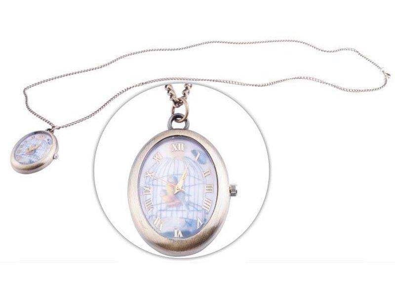 """Barracuda Welt Importe Halskette mit Uhr, 40x30 mm """"Vogel im Käfig"""""""
