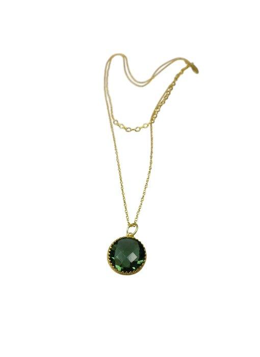 Kette Raja, Silber vergoldet, grüner Quartz.