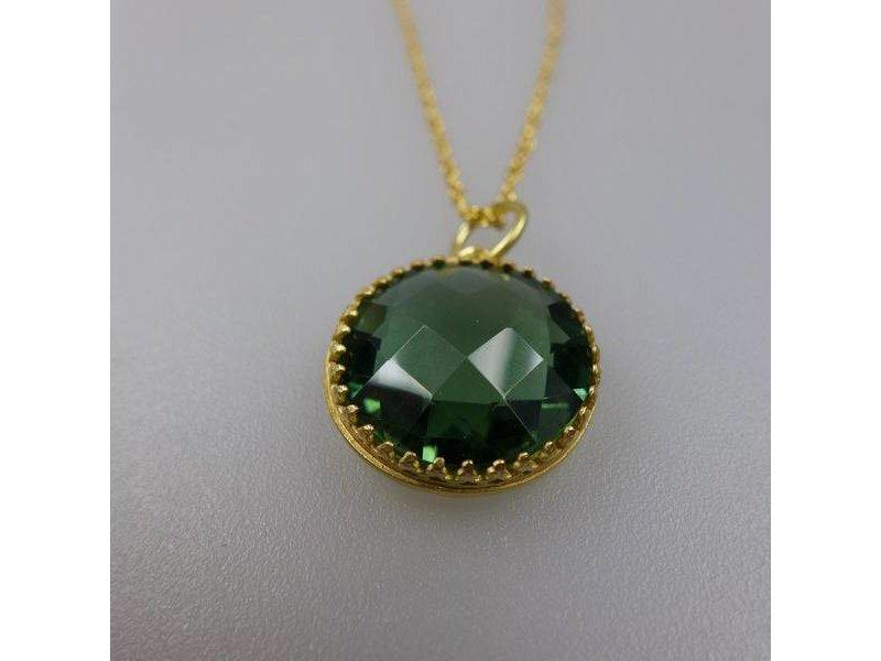 Kette 80 cm, Sterling Silber vergoldet, mit 16 mm facettiertem grünen Quartz.