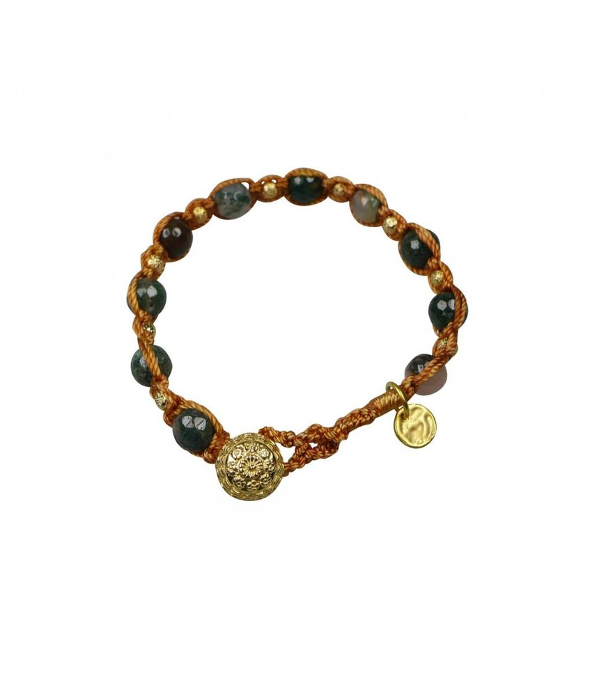 Armband Agate nut, Makramee geknotet und vergoldet
