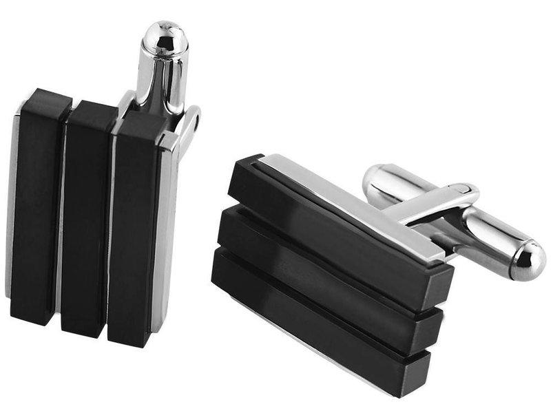 Manschettenknöpfe, silber farbig, IP Black beschichtet, Maße 20 x 13 mm