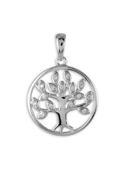 Anhänger Lebensbaum mit 15 Zirkonia Silber 925