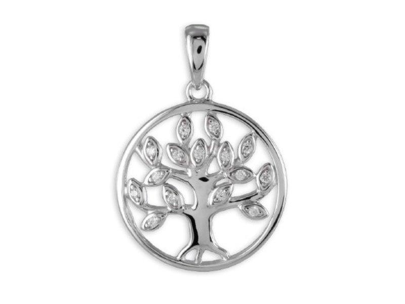 Kesef Schmuck Anhänger Lebensbaum mit 15 Zirkonia Silber 925