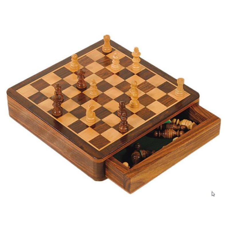 Schachspiel, Shisham Holz, 18 cm