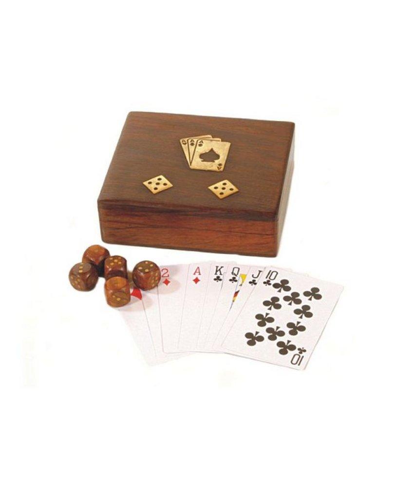 Spielebox (Karten, Würfel), 13 x 11,5 x 4 cm