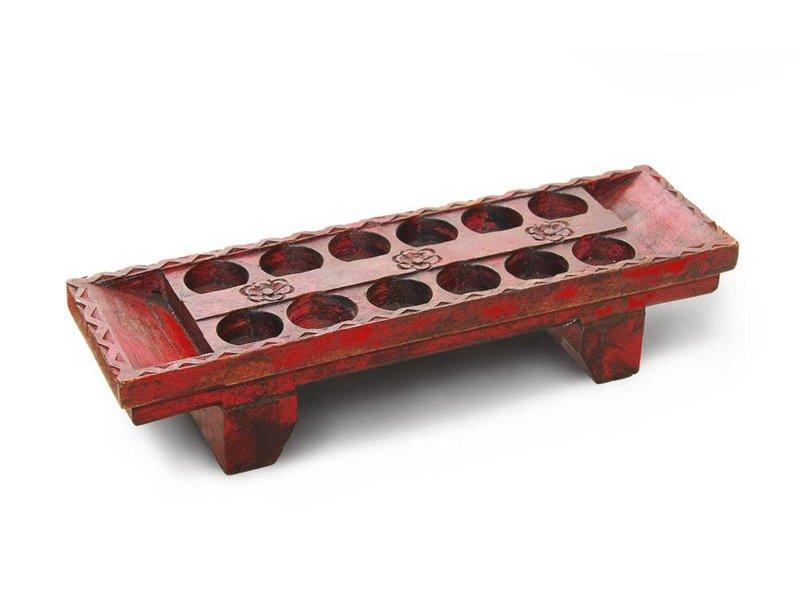 JONES-ANTIQUES Teelichthalter aus Indien, massives Holz in der Farbe rot-antik
