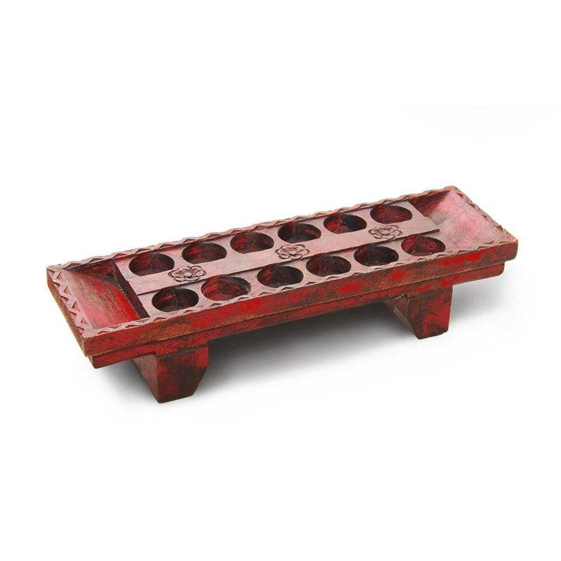 Teelichthalter Holz - Farbe rot-antik
