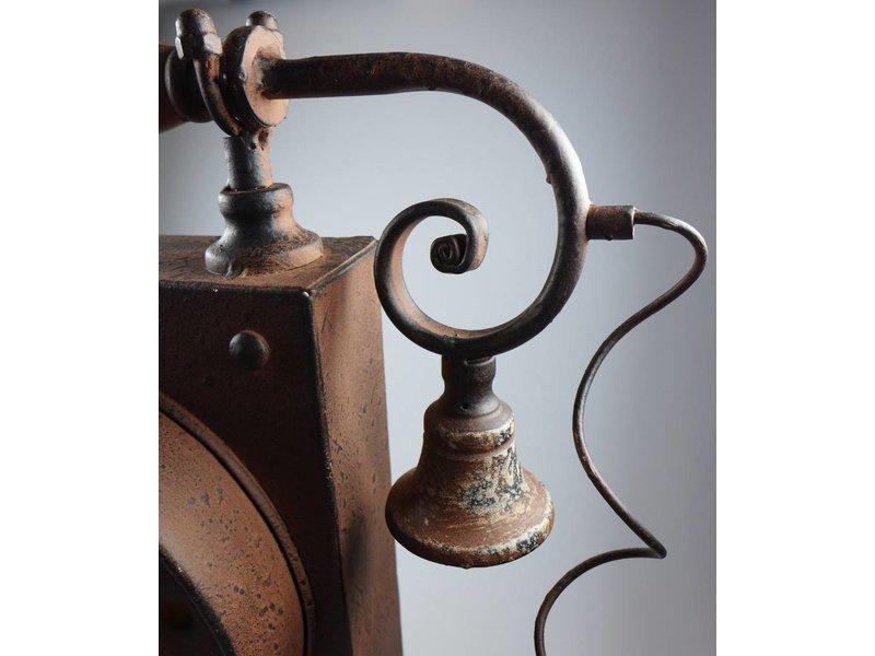La Casa di Caesar Standuhr aus Metall in Telefon Optik antik rost Maße: 33x12x35cm