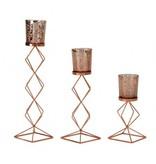 Teelichthalter 3er-Set bronzef. h=17,5-31,5cm