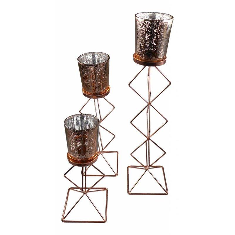Teelichthalter 3er-Set bronzefarbe