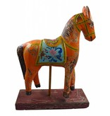 JONES-ANTIQUES Pferde auf Sockel - antikfinish - handgearbeitet in der Farbe weiß