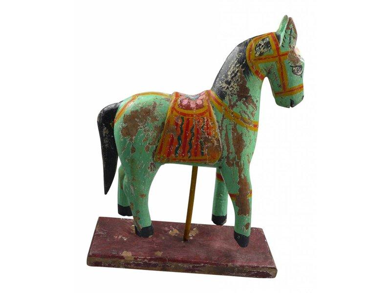 JONES-ANTIQUES Pferde auf Sockel - antikfinish - handgearbeitet in der Farbe grün