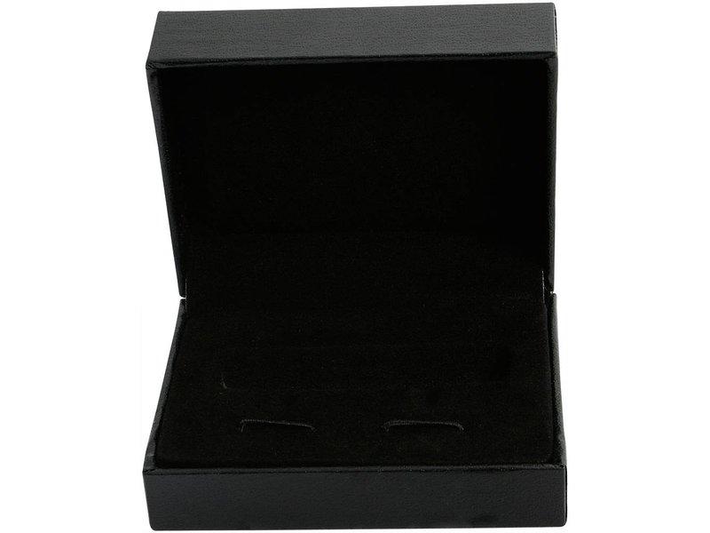 Manschettenknöpfe, silber farbig, IP Black beschichtet, Maße 18 x 14 mm