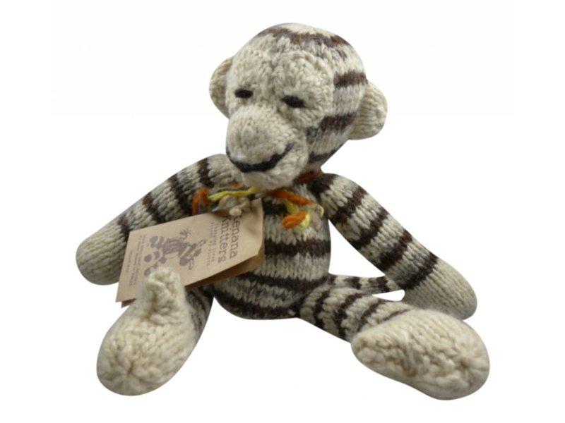 Kenana Stofftiere Affe in creme/braun Stofftier aus Wolle 28 cm - Handmade