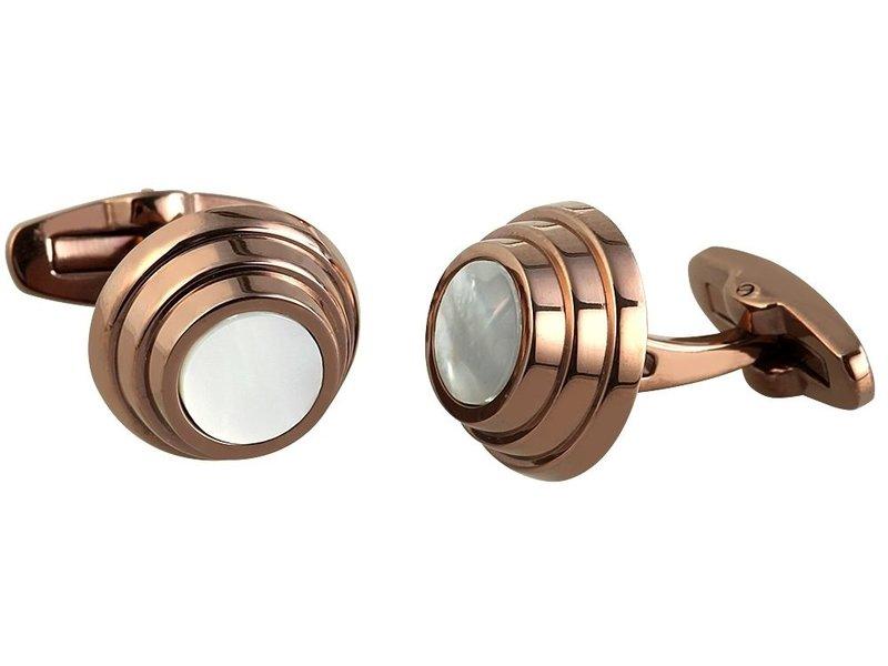 Engelhardt Edelstahl Manschettenknöpfe, Farbe Kupfer mit Perlmutteinsatz, Ø 16 mm