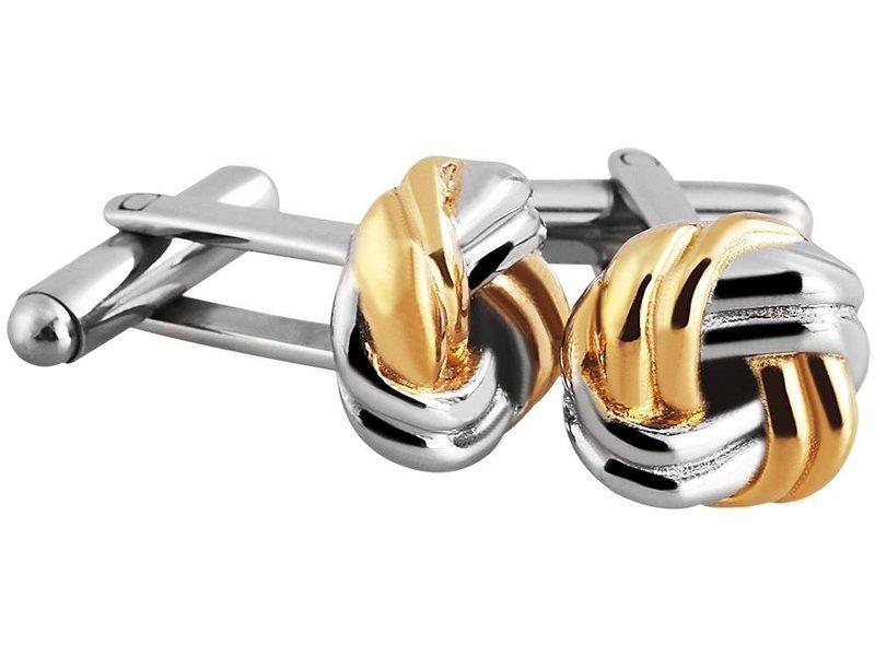 Akzent Edelstahl Manschettenknöpfe, silber farbig, IP Gold beschichtet, Maße 13 x 13 mm