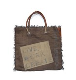 JONES-ANTIQUES Handtasche, Umhängetasche, Schultertasche - Große Tasche aus Militärzelt und Leder - durch Reißverschluss verschließbar
