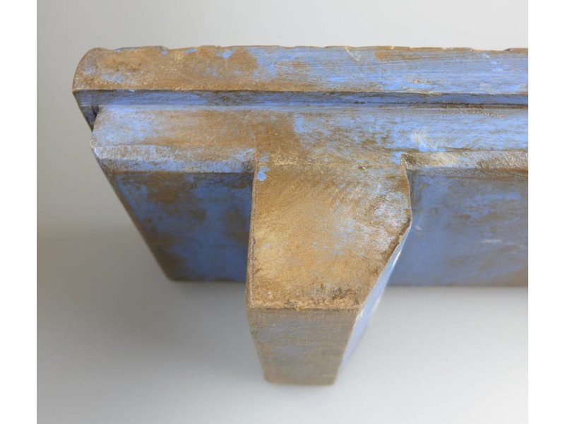 JONES-ANTIQUES Teelichthalter aus Indien, massives Holz in der Farbe blau-antik