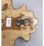 JONES-ANTIQUES Spiegel mit Krone aus Indien. Unikat mit mit Rahmen aus altem Holz, Größe 36x14x2 cm