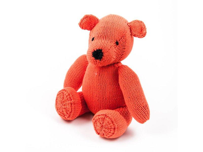 Kenana Stofftiere Orangeroter Teddybär, Stofftier, Bio Baumwolle ca. 30 cm - Kinder - Handmade - Handarbeit