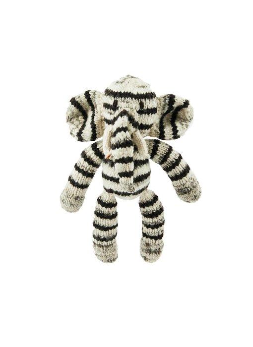 Streifen-Elefant Biowolle 30cm