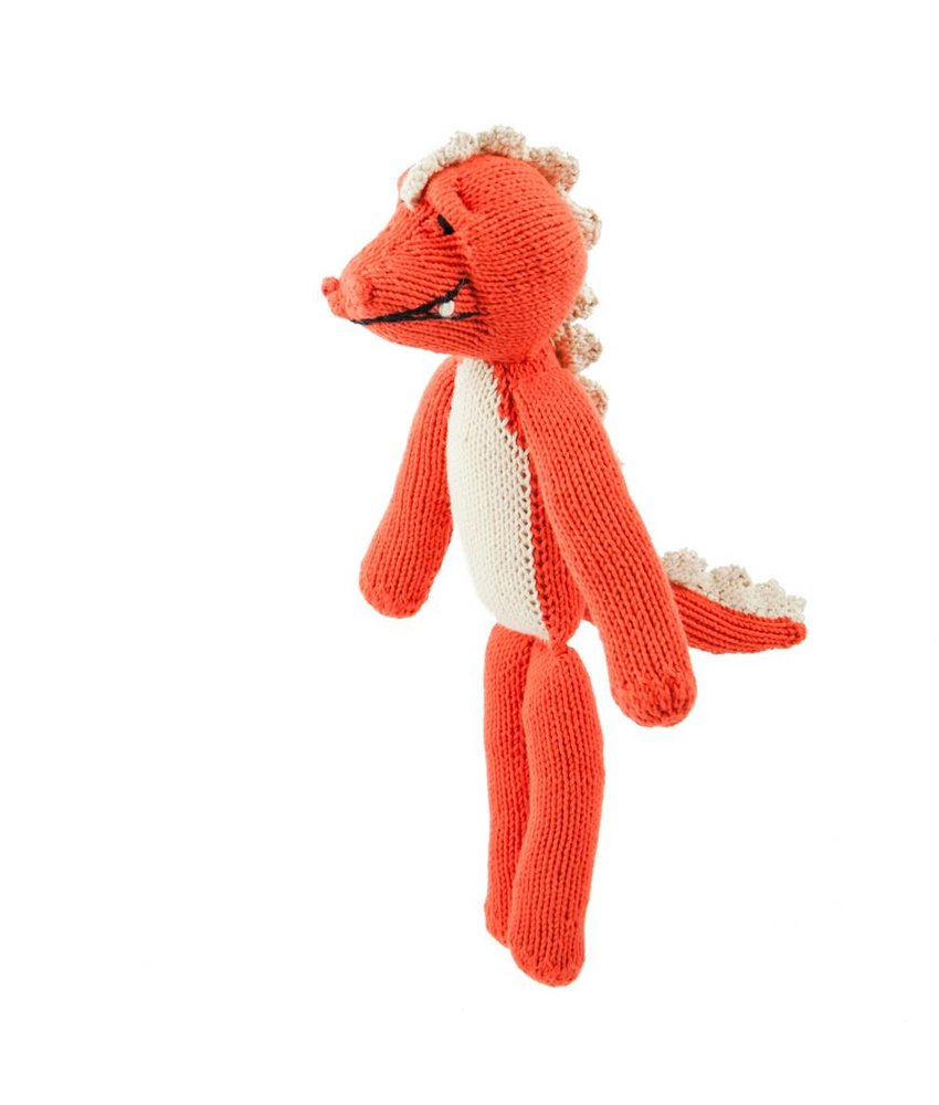Orangerotes Krokodil, Stofftier, Biowolle ca. 40 cm - Handmade
