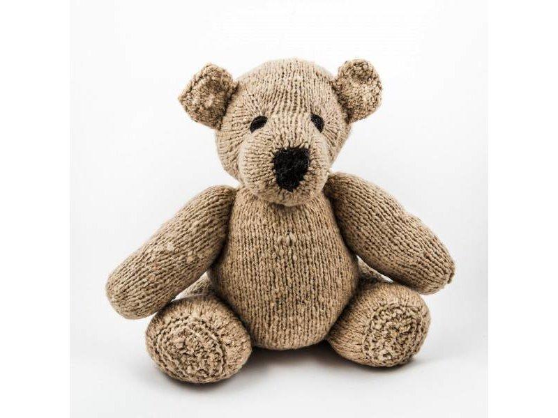 Kenana Stofftiere Beiger Woll-Teddybär Stofftier 35 cm, 100% Wolle - Kinder - Handmade - Handarbeit