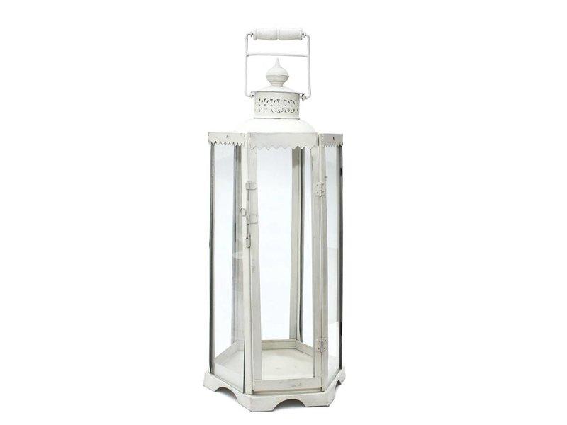 JONES-ANTIQUES Hohe sechskantige Eisenlaterne, Farbe weiß - handgearbeitet